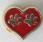 Red Heart With Paws Charm