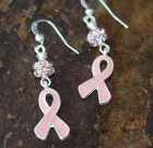Pink Ribbon Earrings With Bling Benefiting Making Strides Against Breast Cancer