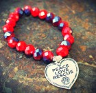 Peace Love Rescue Beaded Bracelet Benefiting Sponsor Adoptions