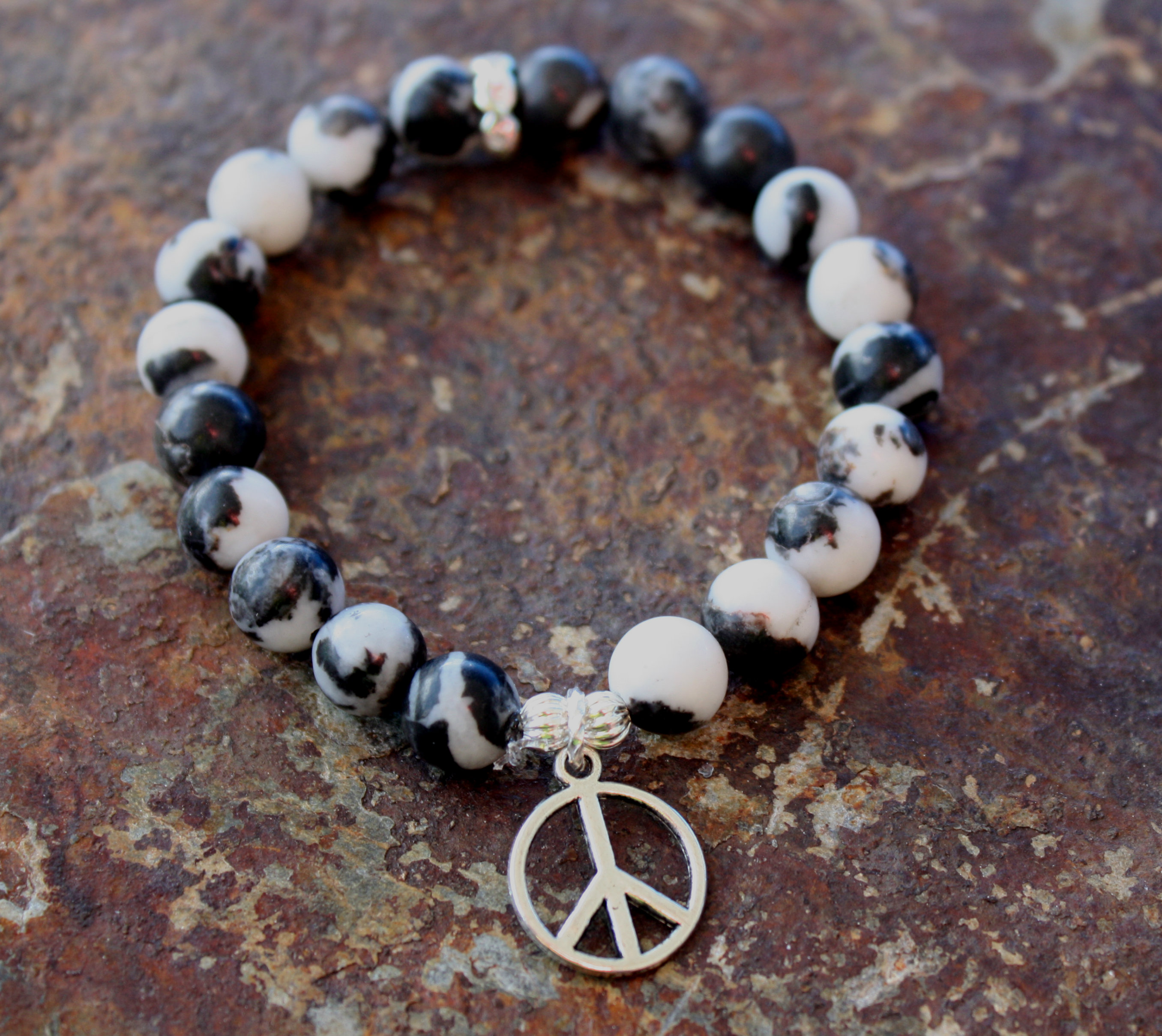 Peace Love Good Luck Beaded Bracelet Stack Blue Laamb