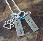 Personalized Necklace Celebrating Your Pet Benefitting Paws To The Rescue – TWO NAMES