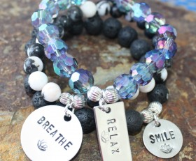 Breathe, Relax and Smile Bracelet Stack