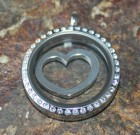 Silver Open Heart Floating Disc