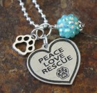 Peace Love Rescue Bling