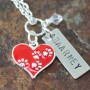 Red heart paws love necklace