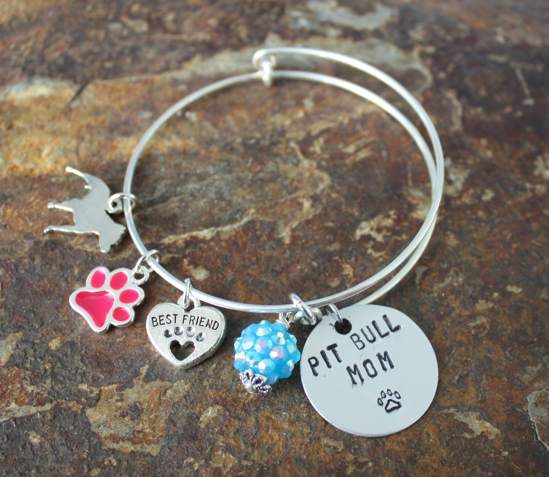 animal mom charm alex her bangles gift for ani personalized and name product dog hugerect hand bracelet lover stamped inspired bangle
