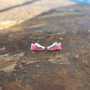 Hot pink runner shoe earrings