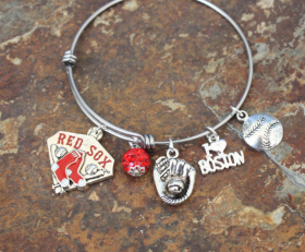 Love The Red Sox Adjustable Bangle Bracelet