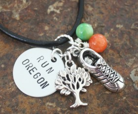 Run Oregon Custom Necklace or Key Chain