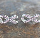 Pink Ribbon Bling Earring Posts Benefiting Making Strides
