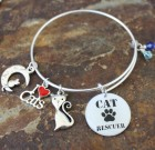 Cat Rescuer's Adjustable Bangle Bracelet