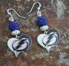 Tampa Bay Lightning Heart Sparkle Earrings