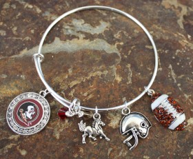 Florida State Adjustable Bangle Bracelet With Bling Football