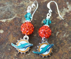 Miami Dolphins Bling Earrings