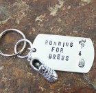 Running For Brews Dog Tag Key Chain