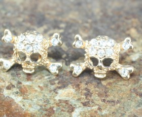 Skull Crystal Post Earrings – Gold