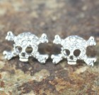 Skull Crystal Post Earrings