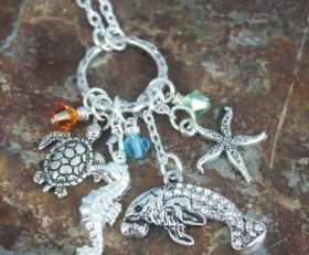 Love Manatees and The Beach Charm Necklace With Sparkles