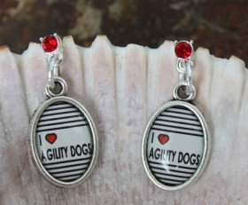 I Heart Agility Dogs Earrings