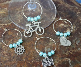 Biking Wine Charms