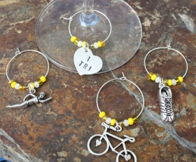 Triathlon Wine Charms