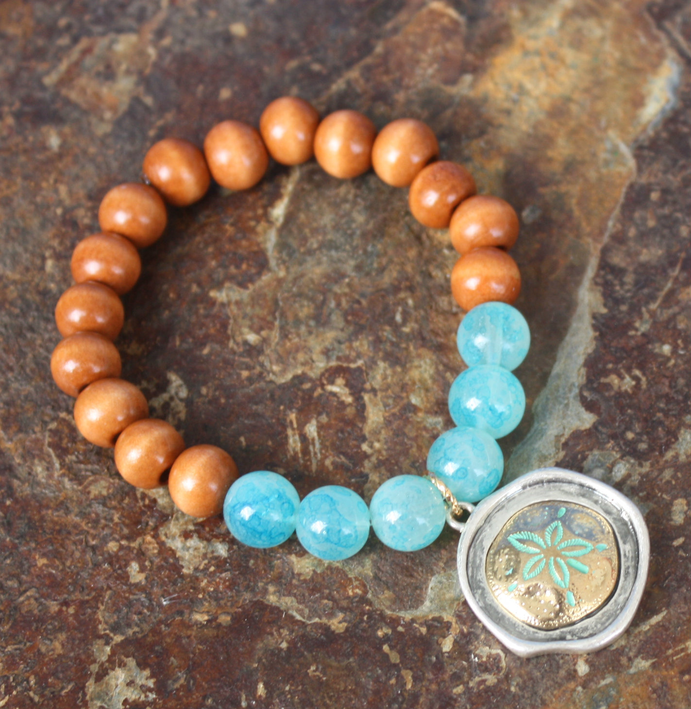 gemstone sand sea bracelet sediment leather boho turquoise beach jewelry dollar jasper wrap products