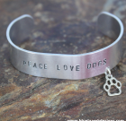 Peace Love Dogs Cuff Bracelet