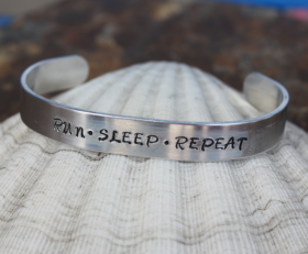 Run Sleep Repeat Cuff Bracelet