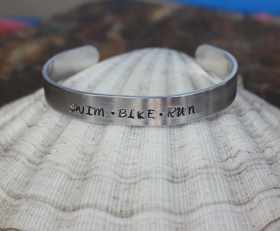 Swim Bike Run Cuff Bracelet