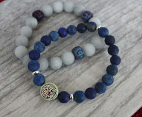 Tree of Life Lapis and Amazonite Stack