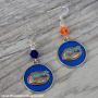 Gators blue orange earrings