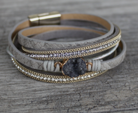 Leather and Gems Double Wrap