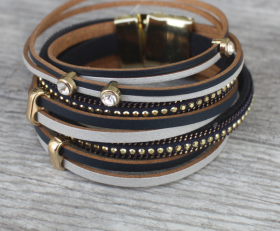 Leather and Crystals Rock-N-Roll Double Wrap